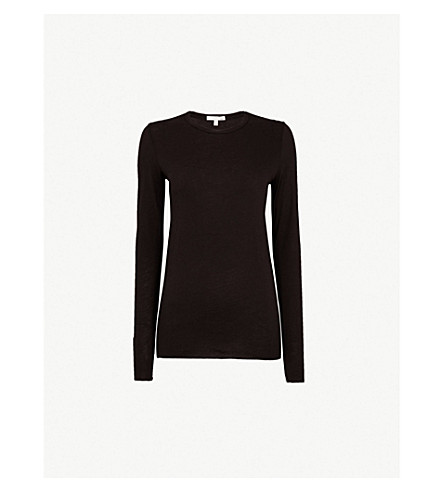 SKIN Long-sleeved pima-cotton jersey top (Black