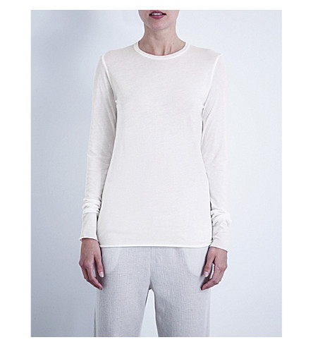 SKIN Long-sleeved pima-cotton jersey top (White