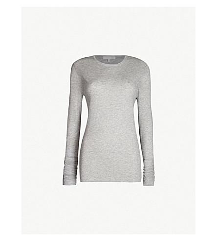 SKIN Long-sleeved cotton-jerey pyjama top (Heather grey