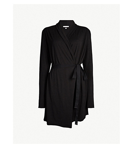 SKIN Wrap cotton dressing gown (Black