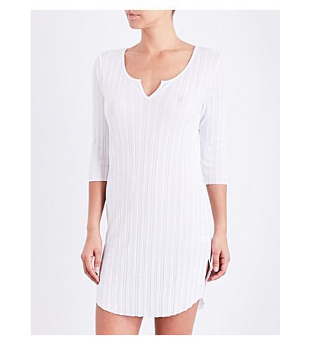 SKIN Ribbed pima-cotton sleep shirt (White
