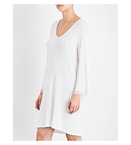 SKIN Lace-trimmed pima-cotton nightdress (Alabaster