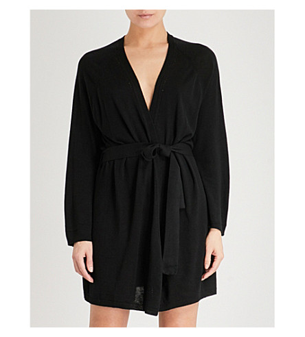 SKIN Mina wool-blend robe (Black
