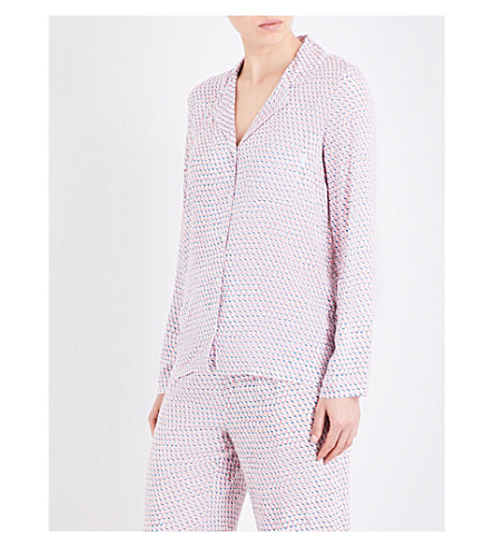 CALVIN KLEIN Printed crepe pyjama top (Ry7+layered+rectangles