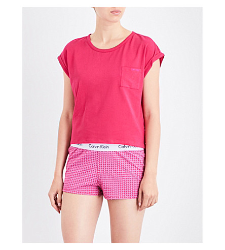 CALVIN KLEIN Turn up-cuffs stretch-cotton top (Ks9+transpink