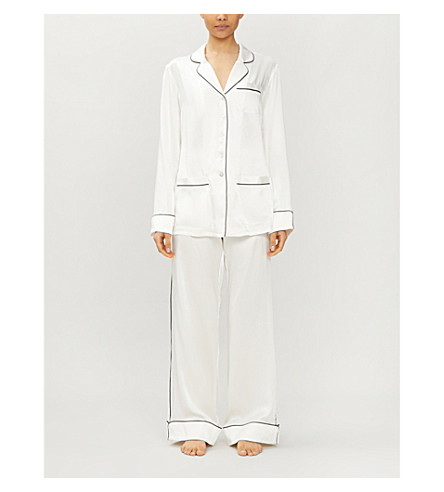 OLIVIA VON HALLE Coco silk-satin pyjama set (Snow+white