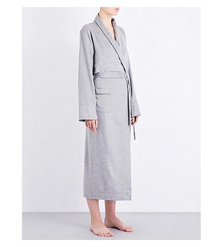 BODAS Cashmere tie-waist robe (Grey