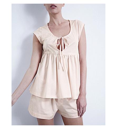 BODAS 褶平纹针织棉睡衣套装 (腮红 + 粉红色