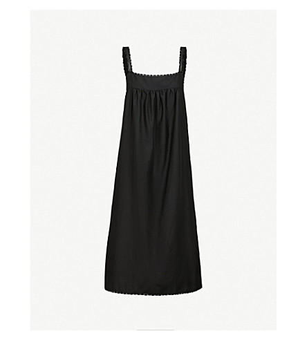 BODAS Montauk square neck cotton and silk-blend nightdress (Black