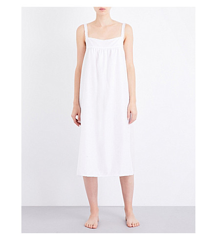 BODAS Square neck cotton and silk-blend nightdress (White+silk+cotton
