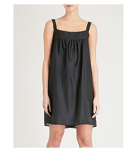 BODAS Montauk cotton and silk-blend night dress (Black