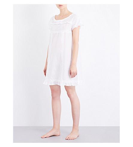 BODAS Cotton and silk-blend nightdress (White+silk+cotton