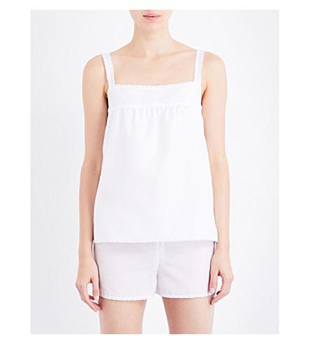 BODAS Square neck cotton and silk-blend pyjama top (White+silk+cotton