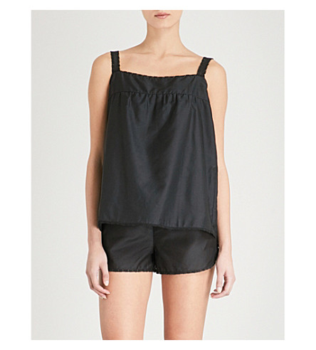 BODAS Montauk otton and silk-blend pyjama shorts (Black