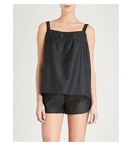 BODAS Montauk otton and silk-blend pyjama shorts (Black