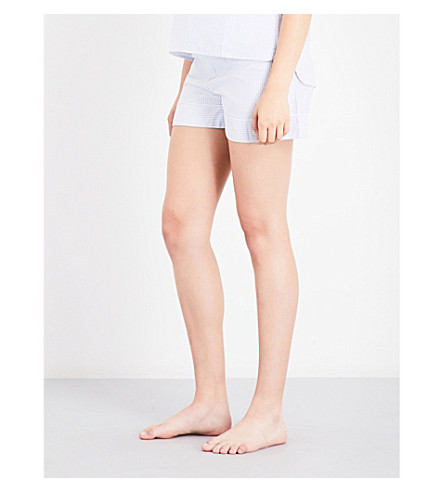 BODAS Striped cotton pyjama shorts (Muted+blue+white+stripe