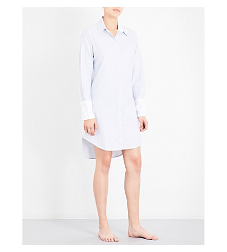 BODAS Striped cotton nightshirt (Muted+blue+white+stripe