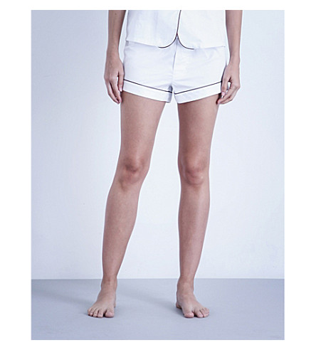 BODAS Verbier cotton pyjama shorts (White+and+baie