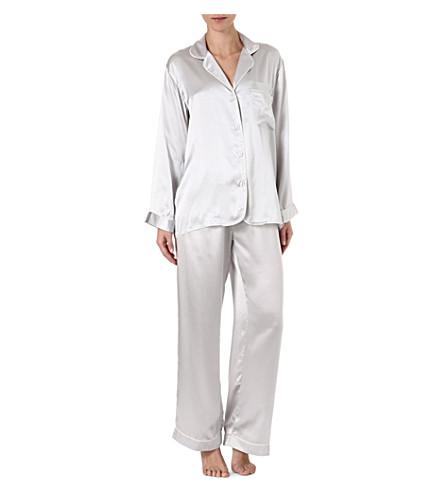 BODAS Silk pyjama set (Silver/ivory