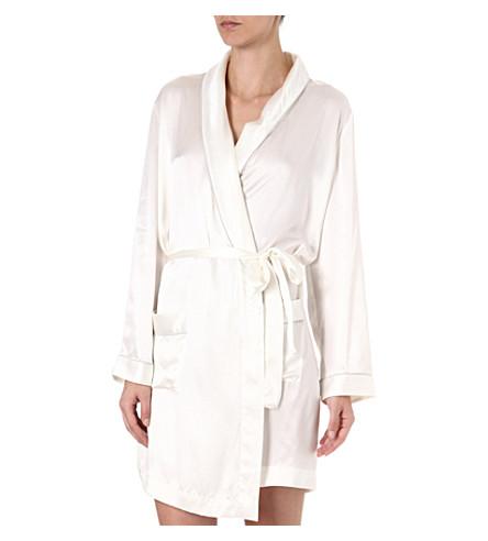 BODAS Silk short robe (Ivory/silver