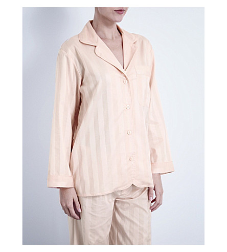 BODAS Shadow Stripe cotton pyjama shirt (Shell pink