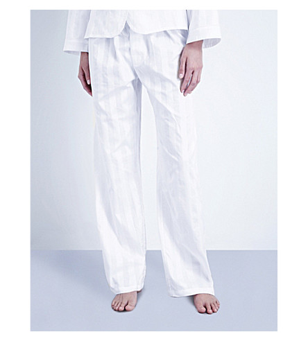 BODAS Shadow Stripe cotton pyjama bottoms (White