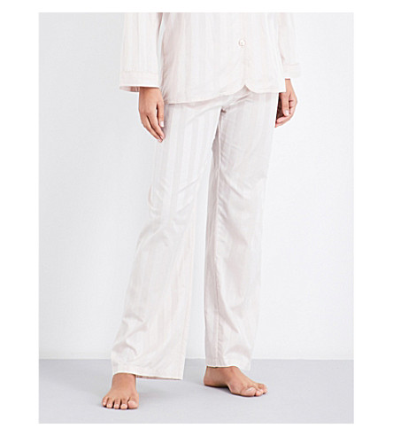 BODAS Striped cotton pyjama trousers (Blush+pink