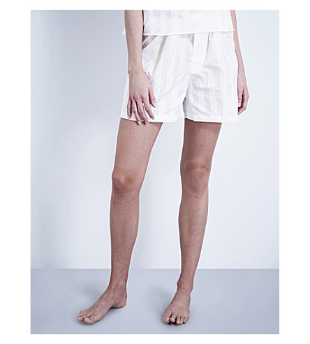 BODAS Striped cotton pyjama shorts (White