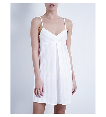 BODAS Shadow Stripe cotton nightdress (White