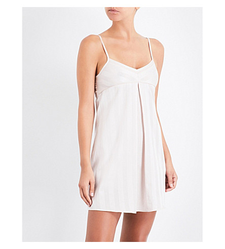 BODAS Shadow Stripe cotton nightdress (Blush+pink
