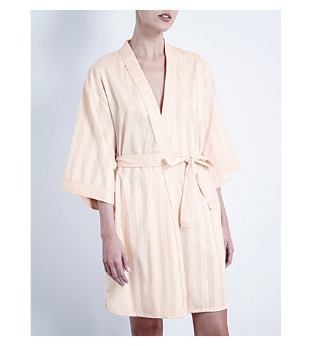 BODAS Shadow Stripe cotton robe (Shell+pink