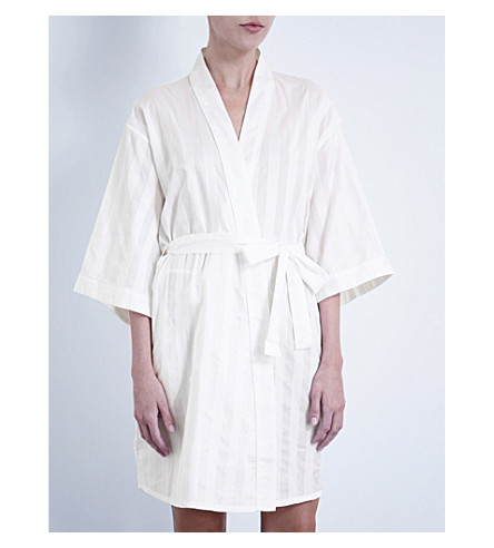 BODAS Shadow Stripe cotton robe (White