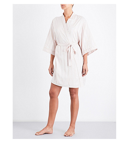 BODAS Shadow Stripe cotton kimono robe (Blush+pink