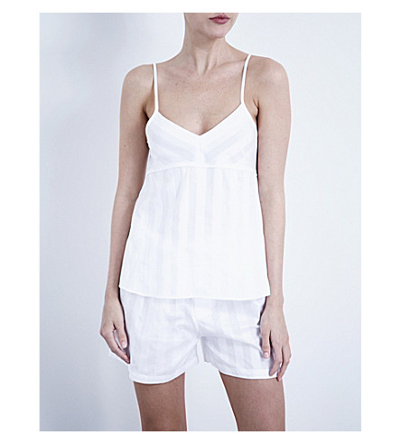 BODAS Shadow Stripe cotton camisole (White