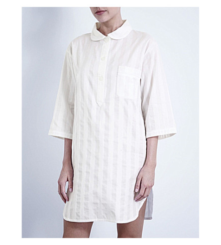 BODAS Shadow Stripe cotton nightshirt (White