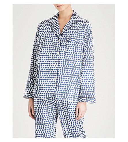 BODAS Siena cotton pyjama shirt (Blue+white+spot
