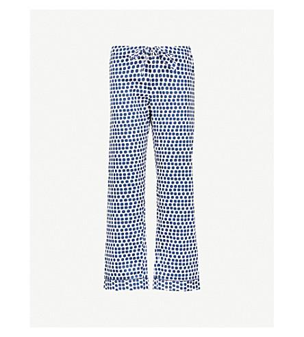 BODAS Siena cotton pyjama bottoms (Blue+white+spot