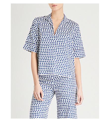 BODAS Siena cotton short-sleeved pyjama shirt (Blue+white+spot