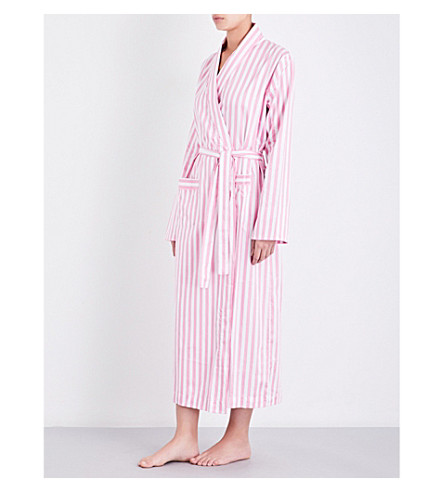 BODAS St moritz cotton robe (Candy+pink+white+stripe