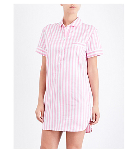 BODAS St Moritz cotton nightshirt (Candy+pink+white+stripe