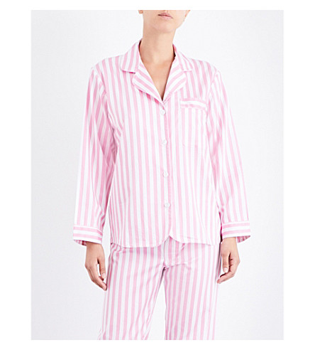 BODAS St Moritz cotton pyjama shirt (Candy+pink+white+stripe