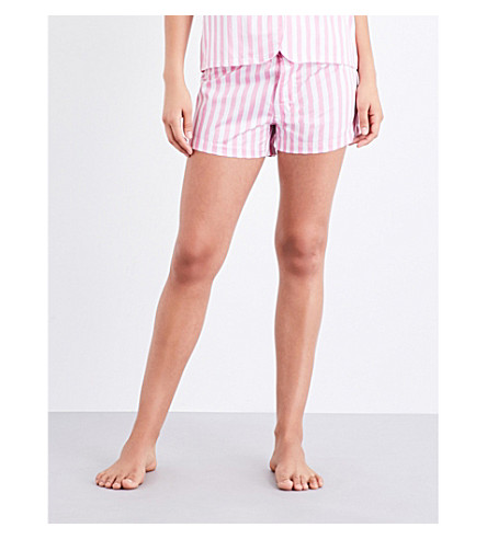 BODAS St Moritz cotton pyjama shorts (Candy+pink+white+stripe