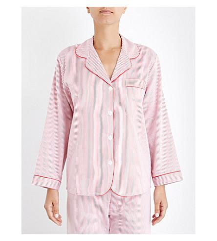 BODAS Verbier striped cotton pyjama shirt (Red & white stripe