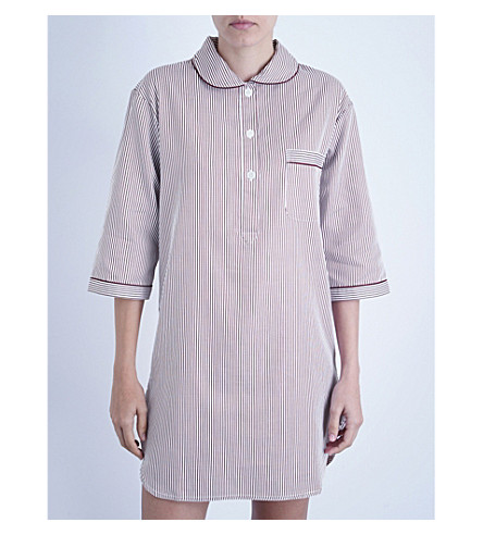 BODAS Verbier striped cotton nightshirt (Baie