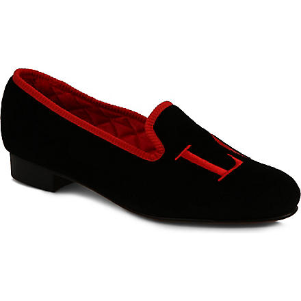 MY SLIPPERS Velvet love slippers (Black/red