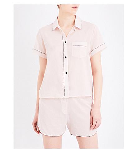 MORGAN LANE Tami cotton-chiffon pyjama top (Petal