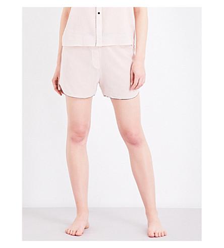 MORGAN LANE Bea cotton-chiffon pyjama shorts (Petal