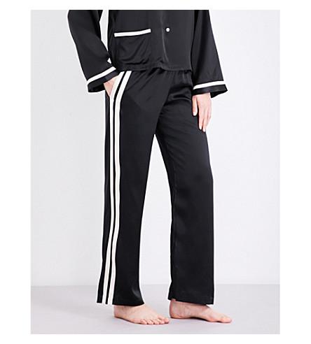 MORGAN LANE Yana silk-charmeuse pyjama bottoms (Noir/cream