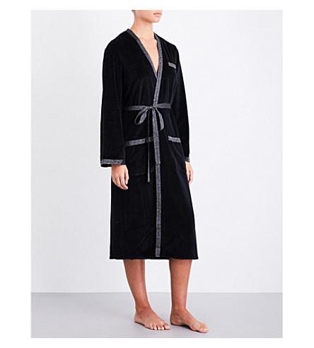 MORGAN LANE Tilda metallic-trim velvet robe (Black