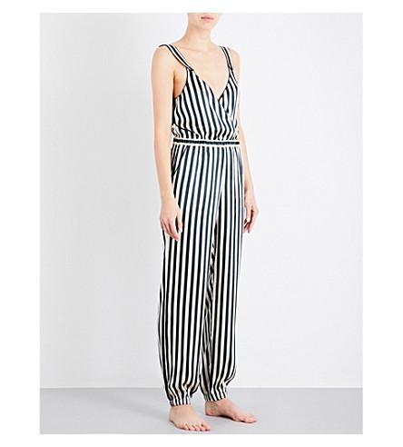 MORGAN LANE Suki striped silk pyjama jumpsuit (Midnight